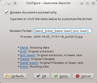 Configuring Gwenview importer to append the original file name at the end of imported pictures