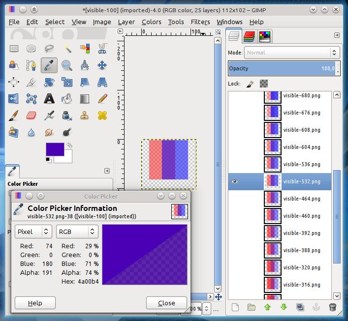 Debug pixmaps in GIMP