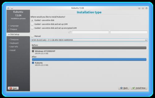 Ubiquity - Disk Setup