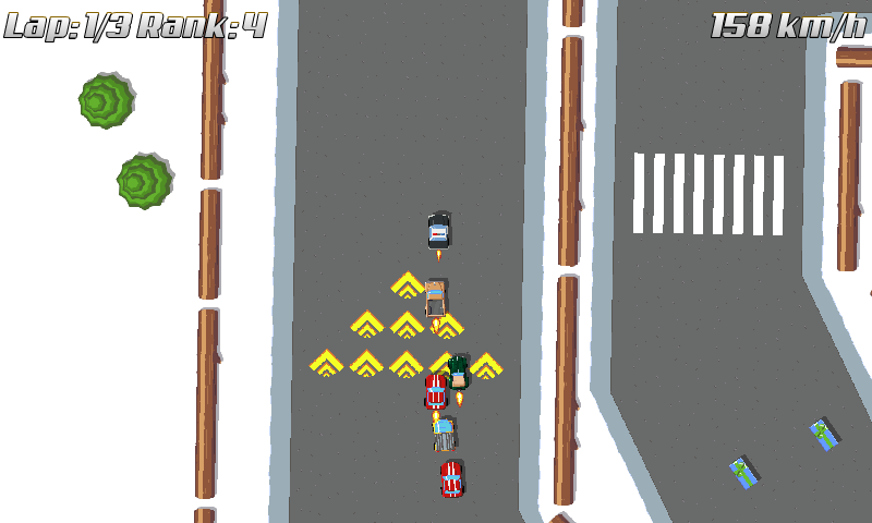 Racers driving over turbo road tiles