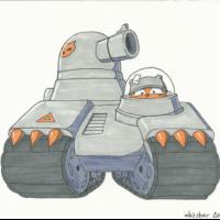 Tread. A tank from the orange cat army.