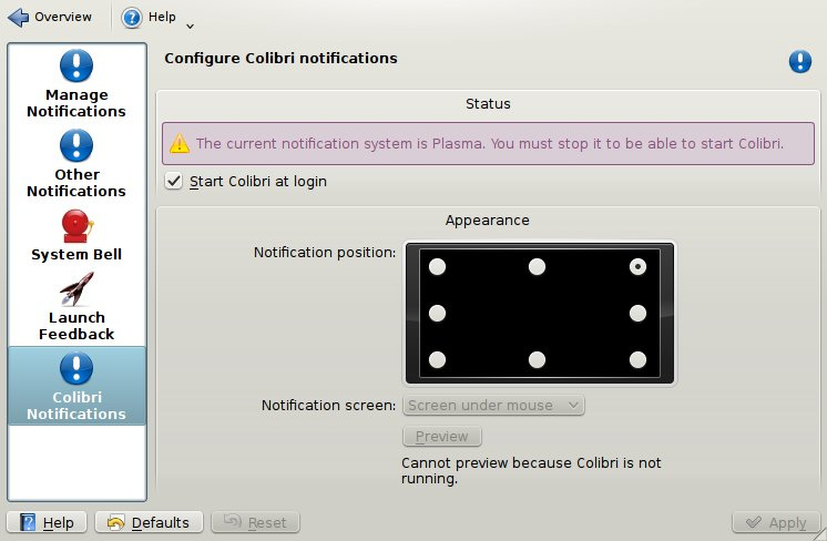 Colibri configuration module, Plasma notification system